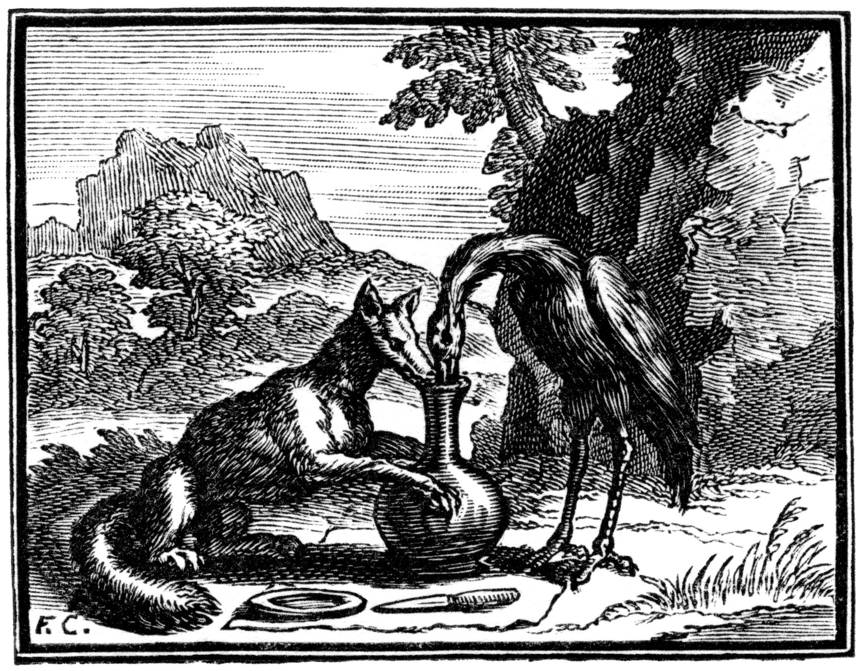 Ilustra es das f bulas de la fontaine x - Le renard et la cigogne dessin ...