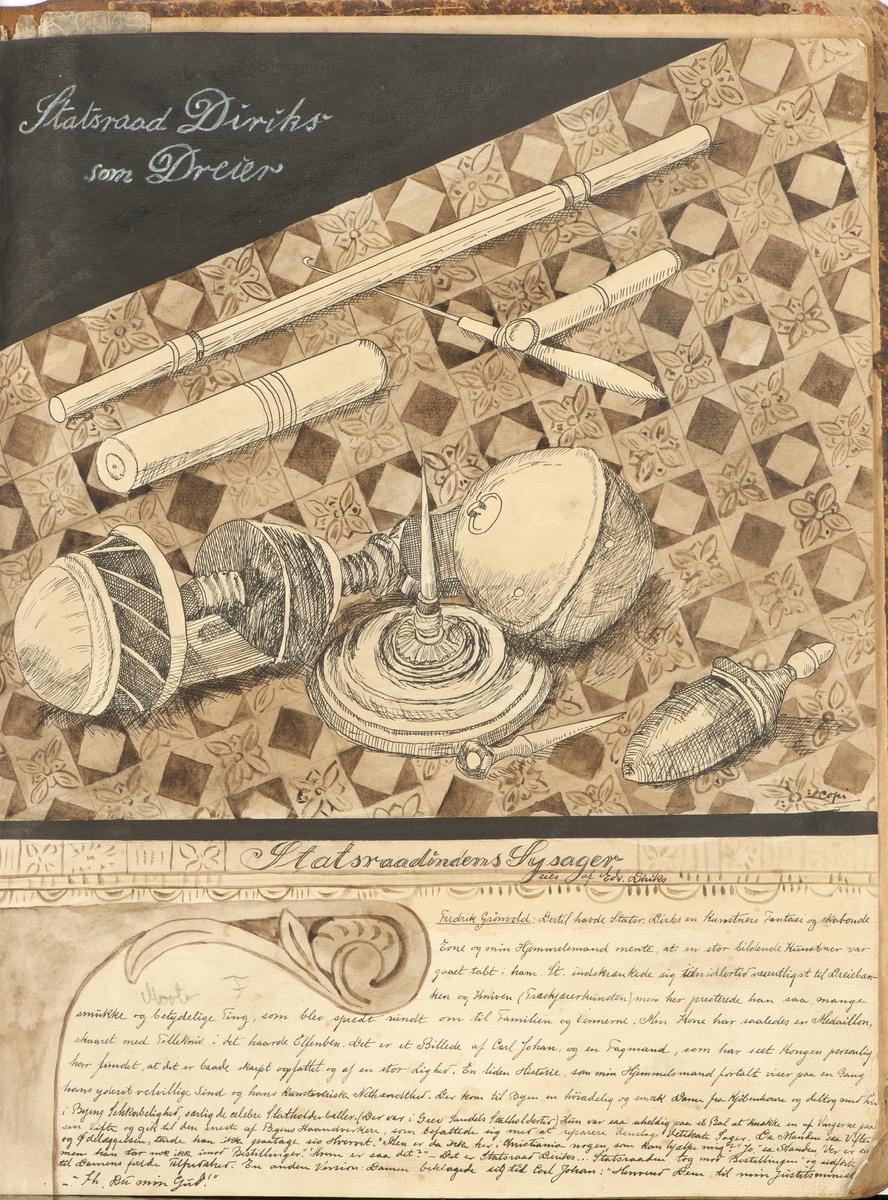 Perm_med_tegninger_av_Anna_Diriks,_Larvik_Museum,_HL.00269,_2