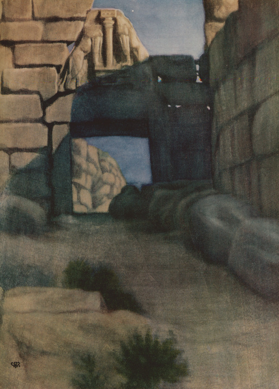 The_Lion_Gate,_Mycenae_-_Willoughby_Vera_-_1925
