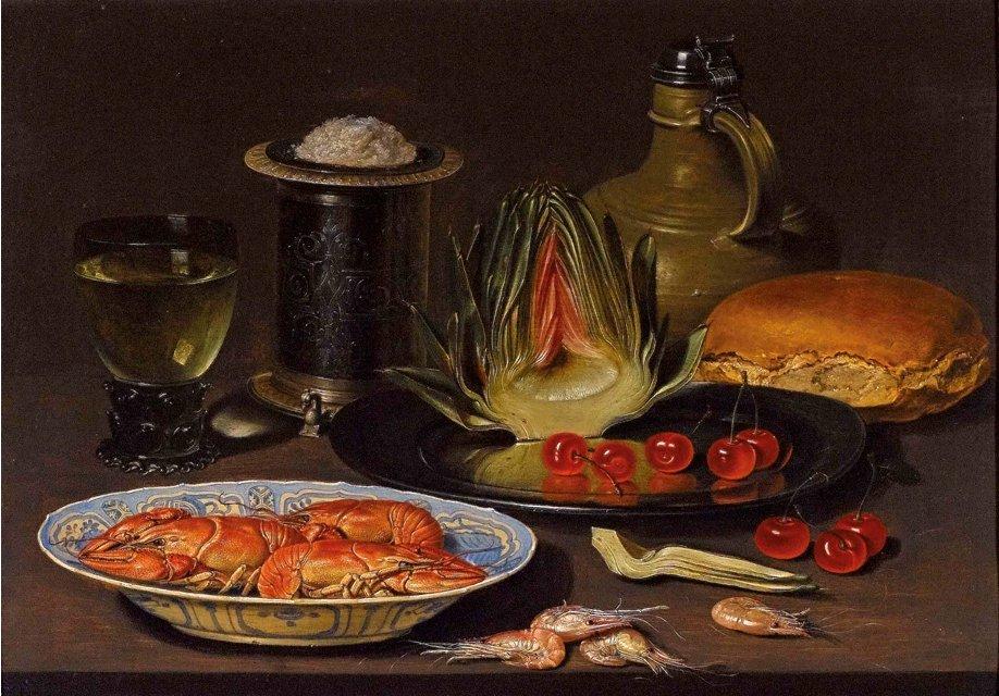 Clara_Peeters._Bodegon_con_alcachofa,_cangrejos_y_cerezas,_c.1618._Oil_on_board